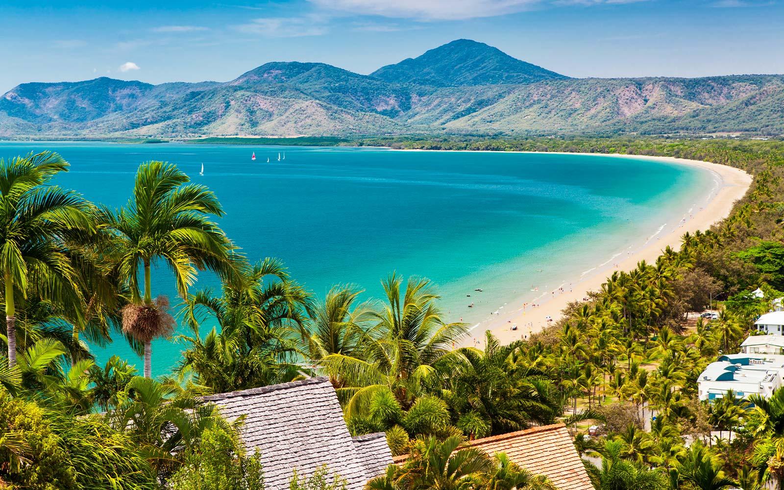 plage avec des montagnes derrière et des palmiers