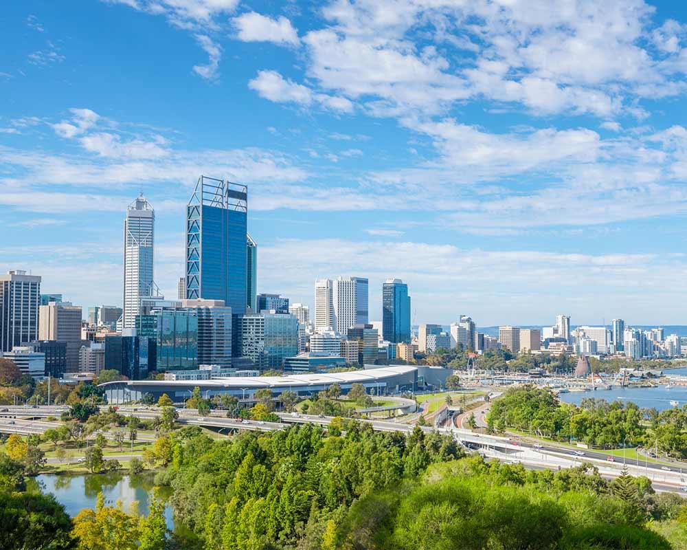 VCentre de ville de Perth en vue aérienne