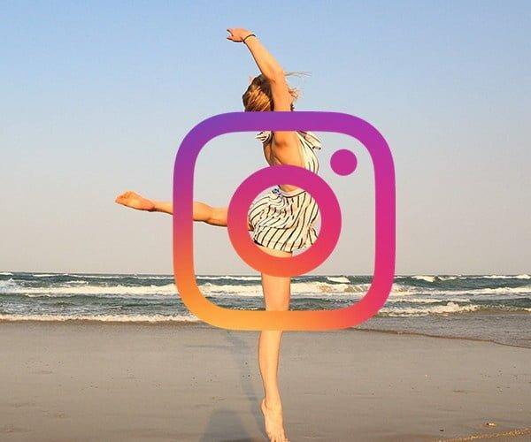 étudiante Go Study qui dance sur la plage et logo Instagram