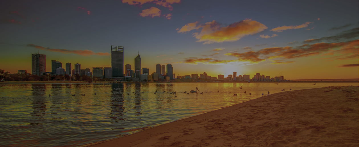 coucher de soleil sur la ville de Perth