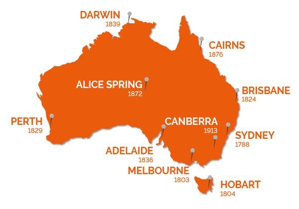 carte de l australie avec les villes Illustrations   10 cartes de l'Australie   Go Study Australia
